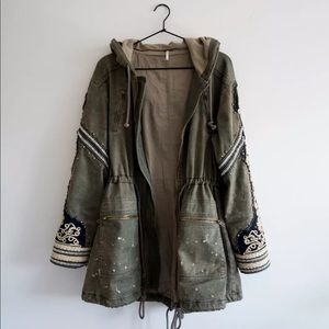 Free People Golden Quills Military Coat Parka XS